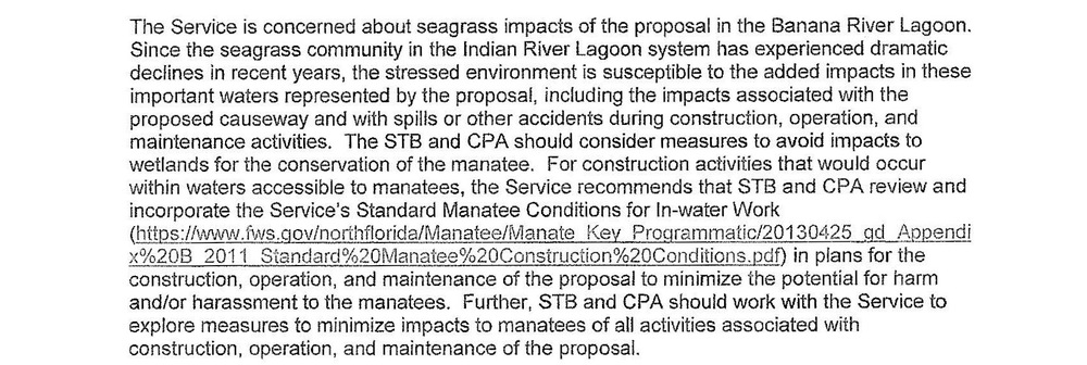 Excerpt from 19-page comment document submitted by US Fish and Wildlife regarding concerns with building a causeway to support commercial rail for Port Canaveral.