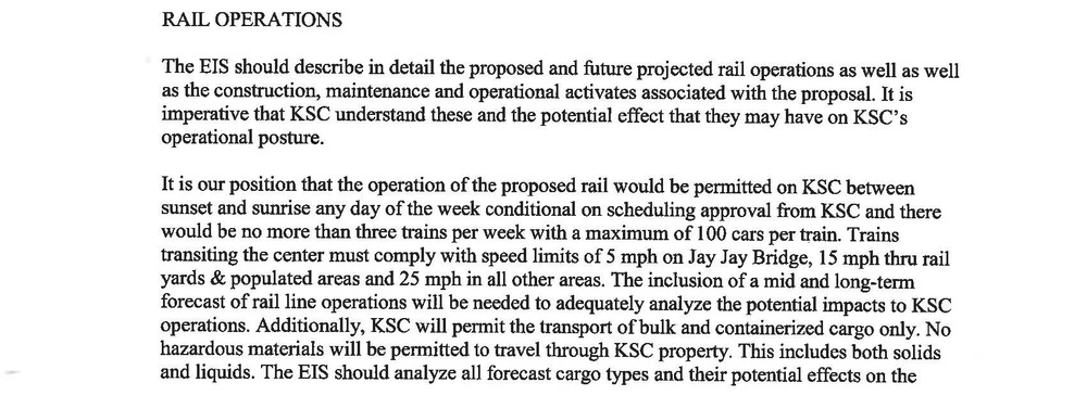 Excerpt from NASA scoping statement dated Jan. 9, 2015 asserting their position that rail operations would only be permitted on KSC property between sunset and sunrise.
