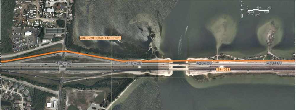 This photo, provided to the STB by the Canaveral Port Authority, shows how the proposed SR 528 alignment would pass to the north of Kelly Park on the Banana River.