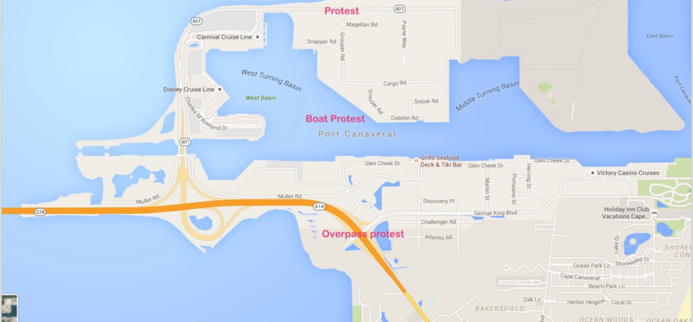 Protesters plan to demonstrate in three different areas; the SR 528 overpass at Port Canaveral, the road leading to GulfTainer's cargo facility and the mouth of the north turning basin.