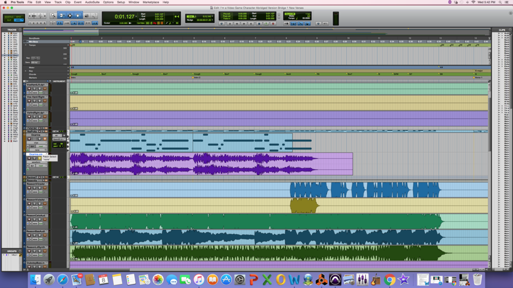 AFTER: NOTICE THE HIGHLIGHTED TRACK NOW WITH THE PURPLE AUDIO WAVE FORM UNDER THE INSTRUMENT TRACK WITH THE MIDI DATA