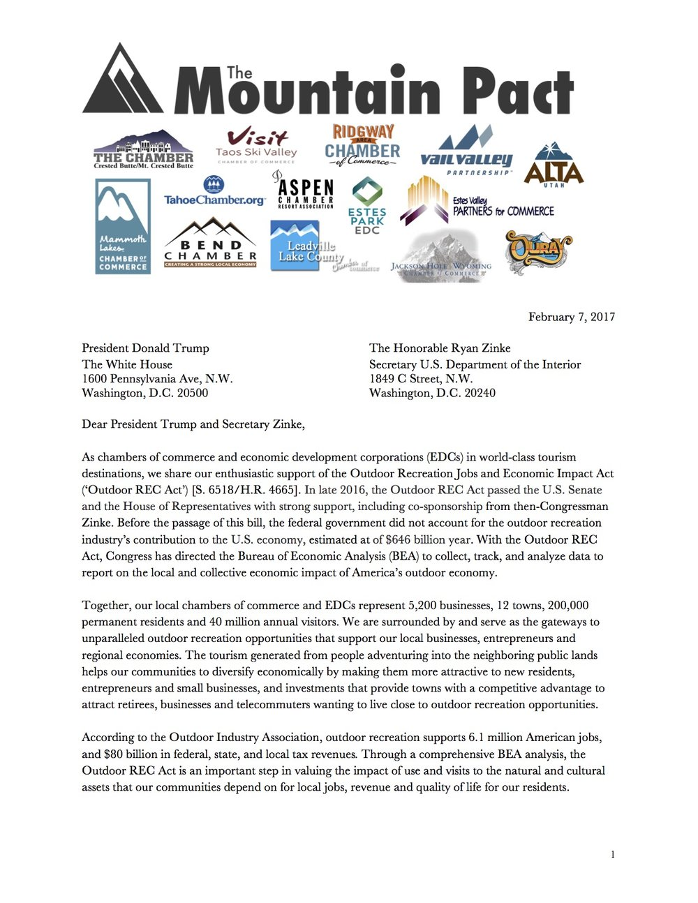 Mountain Pact Letter to Admin. re. Outdoor Rec Economy Pg 1.