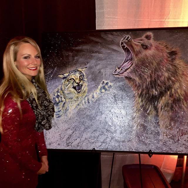 "Grizzly Scholarship Association, Original Painting Donation of ""The Brawl"" by Teshia"
