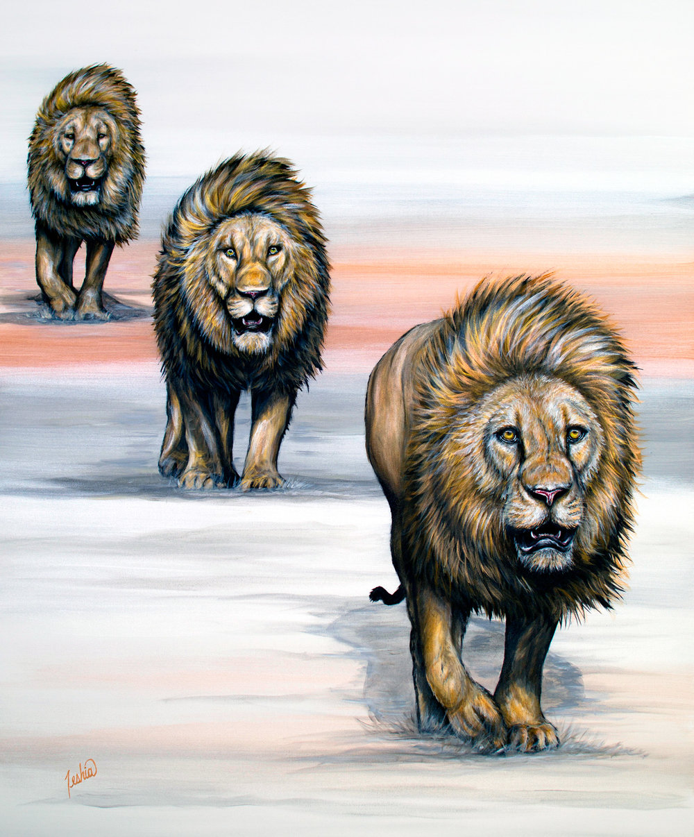 Colorful Animal Paintings - African Wildlife Series - Painting of three lions walking in a line