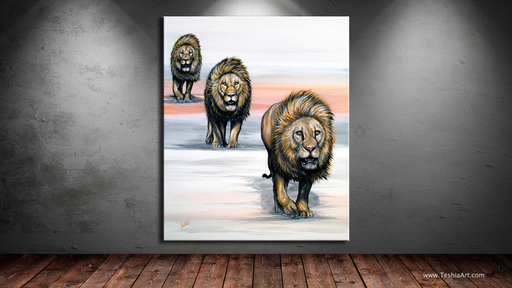 Painting of three lions walking - Colorful Animal Paintings - African Wildlife Series