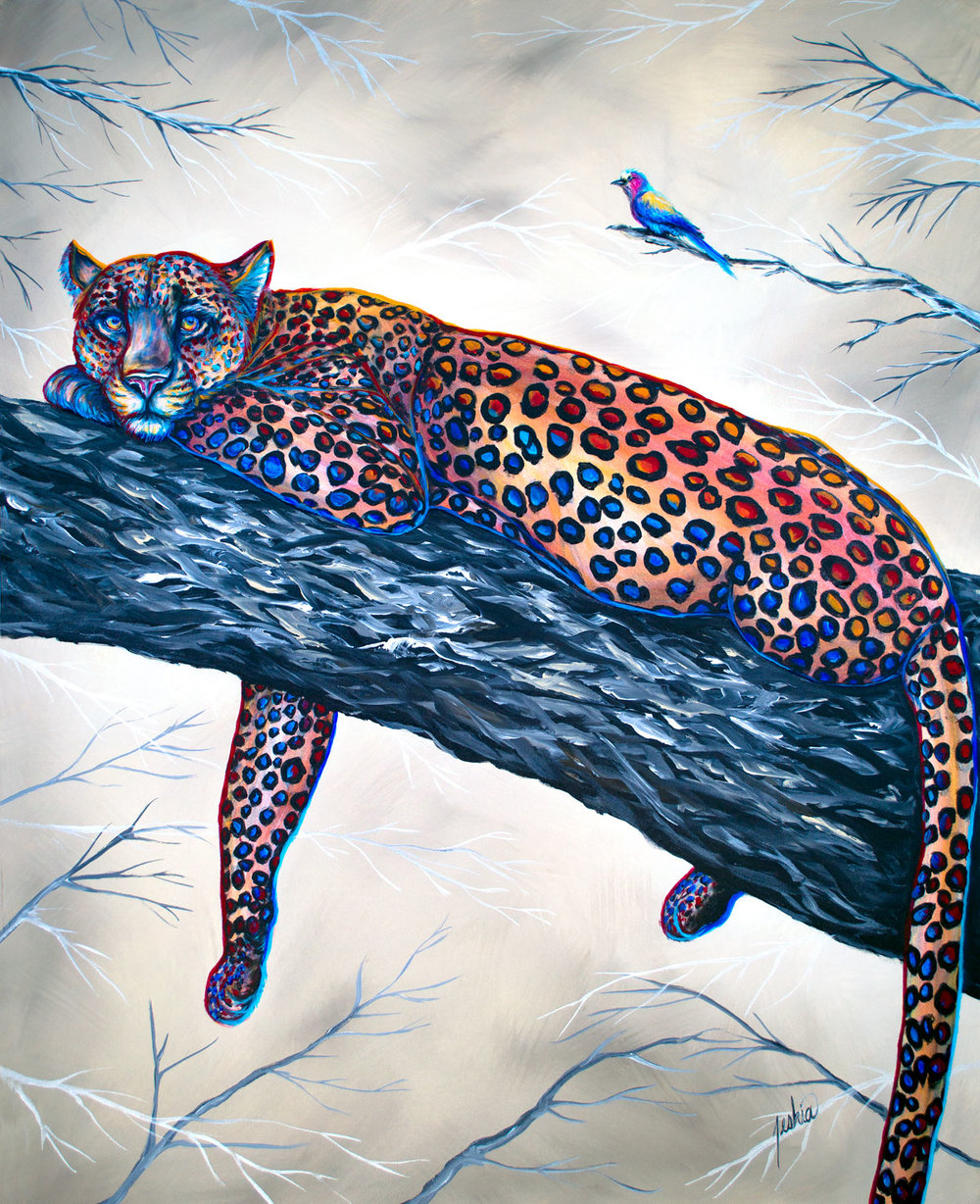 Contemporary Animal Painting - Leopard napping up in an acacia tree.