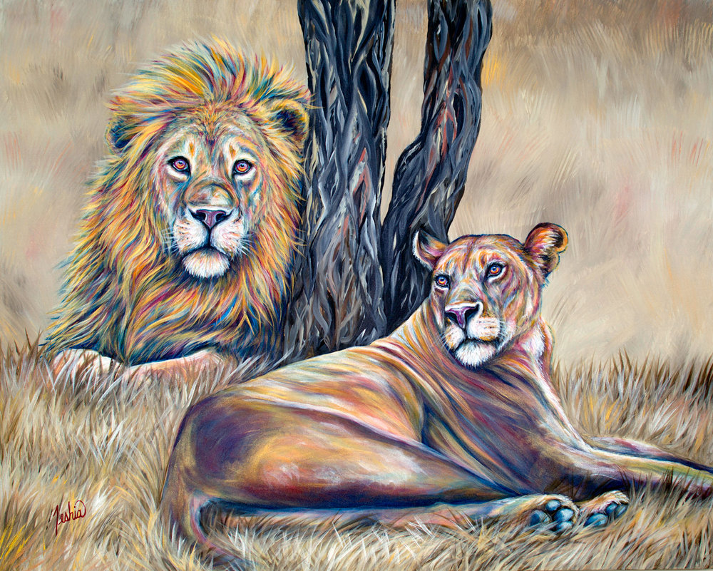 Colorful Animal Art Paintings - Two Colorful Lions Under African Acacia Tree.