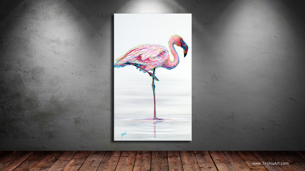 Contemporary Animal Painting of an African Pink Flamingo
