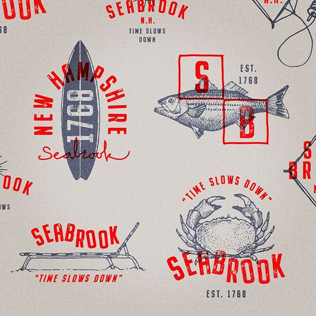 Seabrook, NH. est. 1768. 🦀 Created some badge ideas with illustrations for anything you can get your sandy hands on this summer. . . #seabrooknh #eastcoast #surf #branding #badgedesign #lifestyle #icondesign #logo #beach #hamptonbeach #cinnamonrainbows #zapstixsurfboards #summersessionsurfshop #salisburyma #drawing #illustration #outdoors #lifestylebranding #citybranding @zapstix_surf_shop