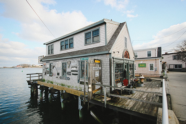 Scituate's downtown is built either on stilts or is abutting the sea. (Rachel Playe/ecoRI News)