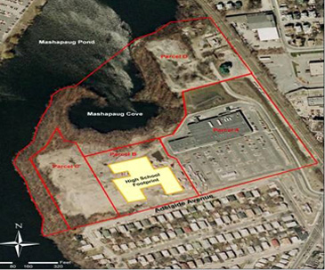 The 37-acre former Gorham Manufacturing Co. is broken into four sections — still-contaminated Parcel C, left; Parcel B, the site of Alvarez High School, second from left; Parcel A, which includes the now-vacant Stop & Shop building and three other commercial spaces, right; and Parcel D, better know as the Mashapaug Pond cove. (Department of Environmental Management)