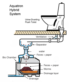 An Aquatron hybrid toilet system combines a urine-diverting flush toilet with a large bin or batch composting system. Urine is diverted at the commode to a storage tank, while solids are flushed, just as they are in regular toilets. (Cape Cod Eco-Toilet Center)