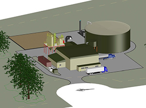 An artist's rendering of the proposed food-scrap digester facility at Quonset Business Park. Food waste will generate up 500 kilowatts of electricity. (NEO Energy LLC)