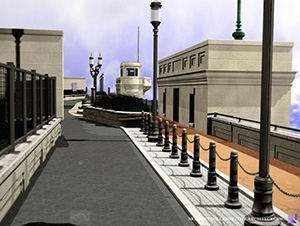 The Washington Bridge linear park will include a bike lane and pedestrian path. Two historic drawbridge operators' houses have been restored as part of the project. (Artist rendering/for DOT)