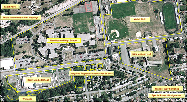 The Parker Street waste site includes New Bedford High School, Keith Middle School, the wetlands adjacent to Keith Middle School, the Nemasket Street lots and six residential properties bought by the city. (City of New Bedford)