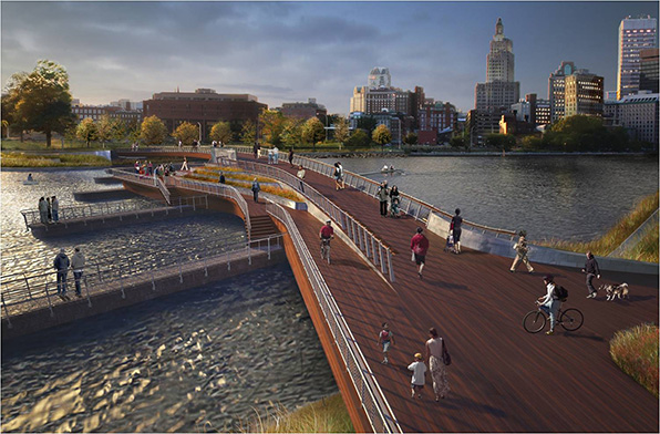 Bridge view looking west. The lower deck of the new pedestrian bridge will not extend the width of the river; instead it will join the upper deck via a terraced staircase. Access to two of the bridge's foundational piers will be incorporated into the final construction. (Providence Department of Planning & Development renderings)