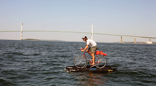 Newport resident Tyson Bottenus pedaled across Narragansett Bay on Sept. 27. (Travis Wright)