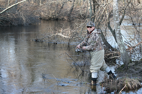 Connecticut resident Scott Trichka favors the protection of wild brook trout in the Wood River. He spent the opening day of trout season fishing on the Wood River in Hope Valley, next to the baseball fields on Route 3. (David Smith/ecoRI News)
