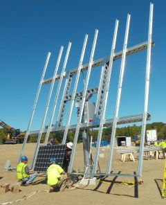 One of six solar trackers installed outside Daniele Inc. in Burrillville. (Tim Faulkner/ecoRI News)
