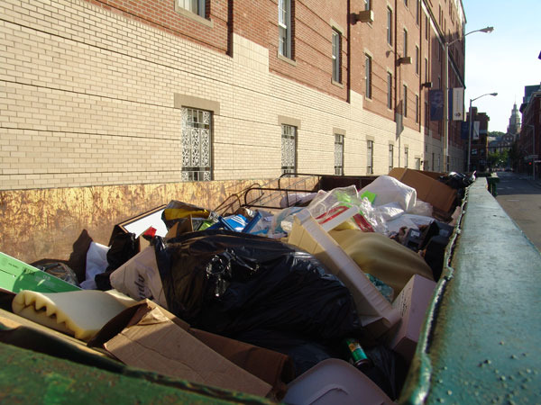 Dumpsters outside Johnson & Wales