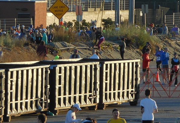 Some 5,000 runners and spectators trampled sand dunes at Easton's Beach in Newport during an October road race. (City of Newport)