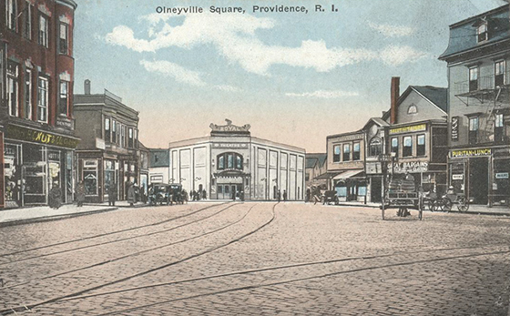 Intersection of Plainfield Street and Hartford Avenue in Olneyville Square circa 1914. (Coppermine Photo Gallery)