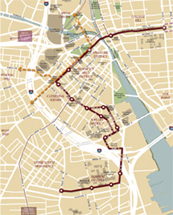 A streetcar route between upper South Providence and College Hill would connect major activity centers in the city's downtown core.
