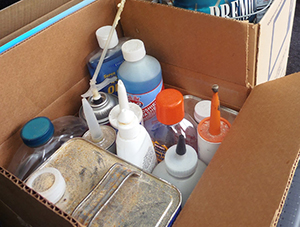 Get rid of the household hazardous waste in your basement or garage properly. (Donna DeForbes/ecoRI News)
