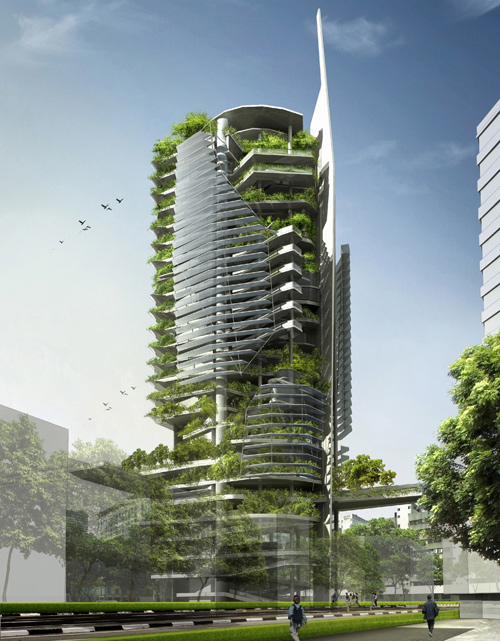 This proposed vertical-farming tower to be built in Singapore would be 26 stories high, more than half its surface area would be covered by native vegetation, and solar panels would generate about 40 percent of the building's energy needs. Could a similar vertical-farming structure be built on some of the I-195 land in Providence? (T.R.Hamzah & Yeang Sdn.Bhd.)
