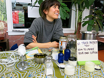 Colleen Doyle demonstrates how to make your own body lotion during a recent presentation at the Fertile Underground Grocery on Westminster Street in Providence.