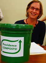 Sheila Dormody with a Providence Composts! food-scrap bucket. (ecoRI News)