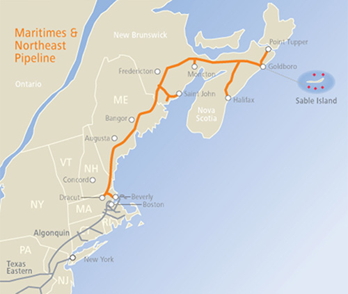 The owner of the Maritimes & Northeast Pipeline has already applied to reverse the direction of the pipeline flow to reach Nova Scotia. (Spectra Energy)