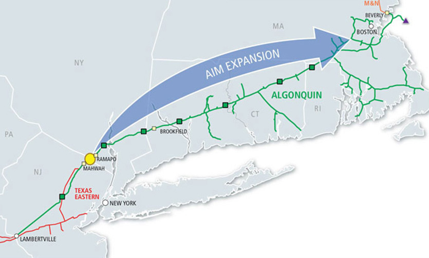 The Algonquin Incremental Market project spans five states and some 1,200 miles. (Spectra Energy)