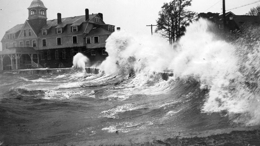 Waves crashing onshore in Woods Hole, Mass., during the 1938 hurricane. Large waves associated with intense hurricanes can erode and transport coastal sediments and destroy infrastructure. (Northeast Fisheries Science Center in Woods Hole)