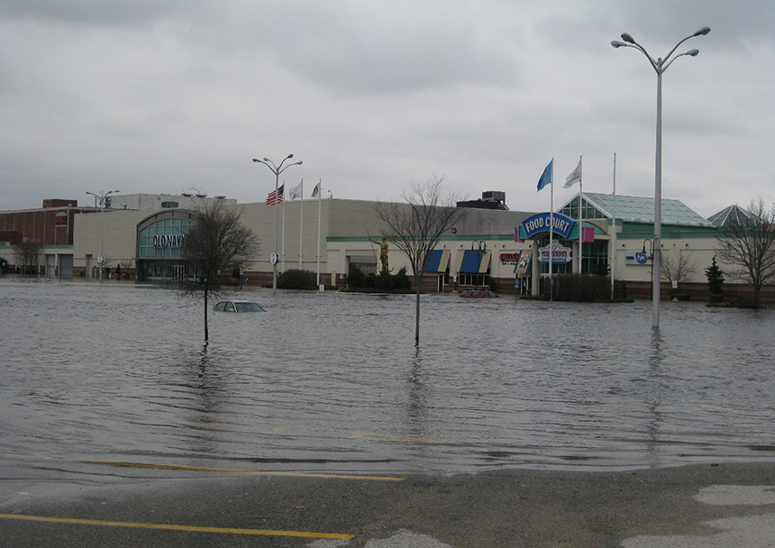 The floods of March 2010 severely damaged the Warwick Mall, but the shopping center reopened in mid-May without having addressed any future climate-change impacts. (NOAA)