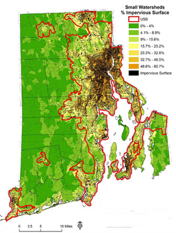 Much of Rhode Island's impervious cover is contained within the urban services boundary, which is outlined in red. (DEM)