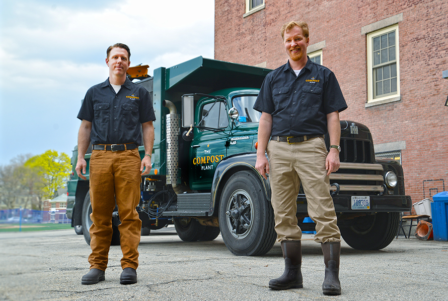 The Compost Plant , a Providence-based business created by Leo Pollock, left, and Nat Harris, picks up commercial food scrap from restaurants and schools. (Joanna Detz/ecoRI News)