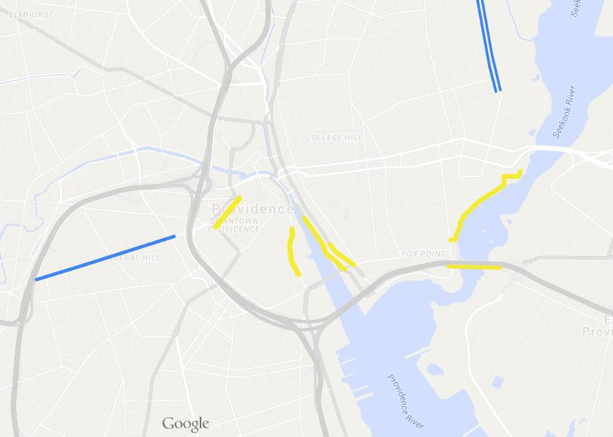 Providence plans to begin or complete construction on a hodgepodge of six bike lanes this year (yellow). The lanes will have little relation to each other or existing bike lanes in the city (blue).