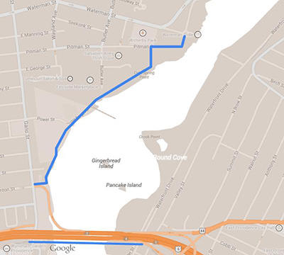 The Blackstone River path is at the top and the Washington Bridge path is at the bottom.