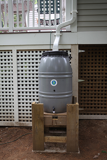 A rain barrel saves you money and conserves water. (ecoRI News)