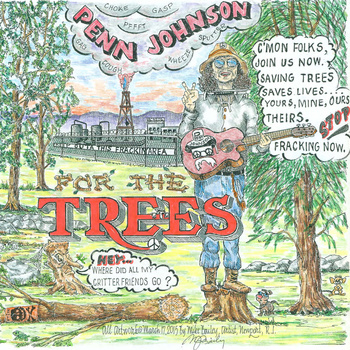 His first album, 'For The Trees,' was inspired by his time in the shale fields of Pennsylvania and the urgency of climate change. (Artwork by Mike Bailey of Newport, R.I.)