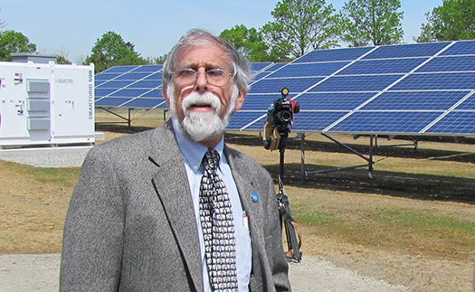 Richmond Town Council president Henry Oppenheimer said the town's new solar array will teach Chariho High School students about asset development. (Tim Faulkner/ecoRI News)