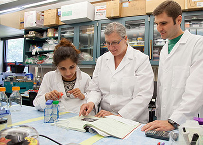 Rhode Island College associate professor of biology Rebeka Merson, middle, and students Keya Thakkar, left, and Timothy Bock Jr. are studying the impacts of PCBs on marine environments. (RIC)