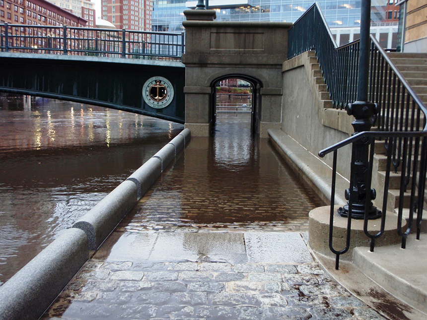 On Dec. 12, 2008, Waterplace Park in Providence got a wet look at what 3 feet of sea-level rise will do, as 2.7 feet of flooding washed out much of the area's riverside walkways. (James Boyd/CRMC)