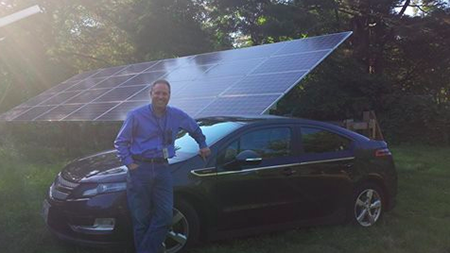 Noah Forden uses his ground-mounted solar array to power his house and charge his electric vehicle. (Courtesy photo)