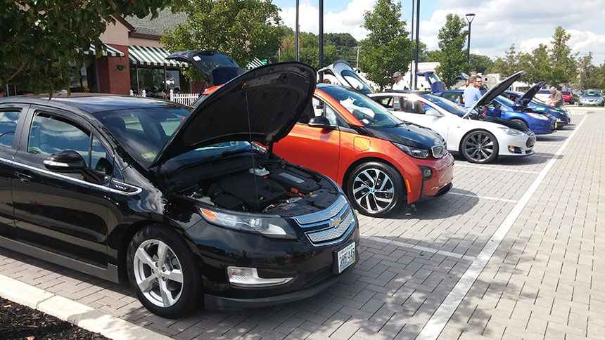 Electric vehicles took center lot at a recent Rhode Island Drive Electric Day in Cranston, R.I. (Kevin Proft/ecoRI News)
