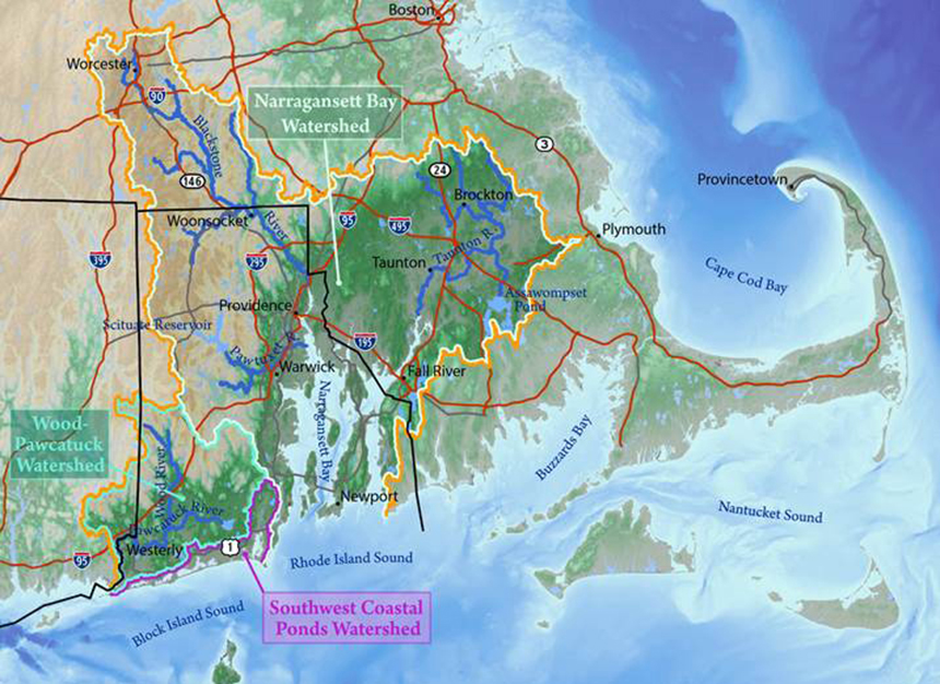 The wetlands of Narragansett Bay, the Wood-Pawcatuck rivers and Rhode Island's southwest coastal ponds are stressed and under threat from sea-level rise. (NBEP)