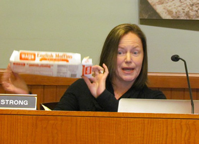 Barrington Town Council member Ann Strong, who opposes a bag ban, says all non-recyclable items should then be pulled from store shelves. (Tim Faulkner/ecoRI News photos)