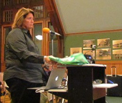 Tracy McGrath,sales director for a German company that produces plastic bags, gave a presentation at the council's Oct. 5 meeting to discuss the virtues of these thicker plastic bags.