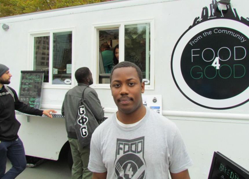 Julius Searight is the founder of Food4Good food truck and mobile soup kitchen. Every $5 dollars earned by the new operation buys two meals for the needy. (Tim Faulkner/ecoRI News)